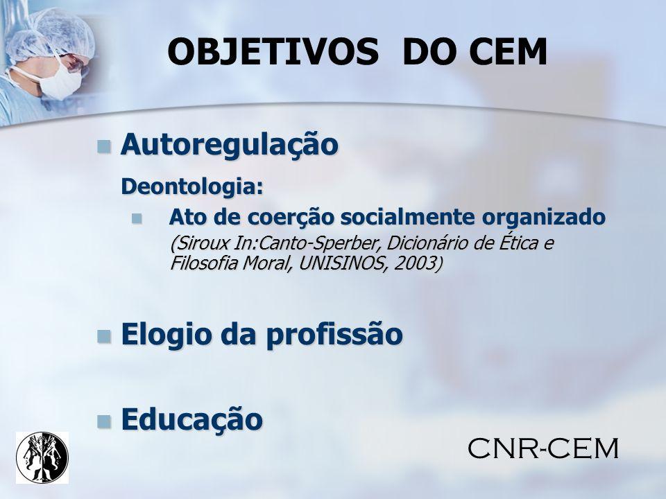 OBJETIVOS DO CEM Autoregulação Deontologia: Elogio da profissão