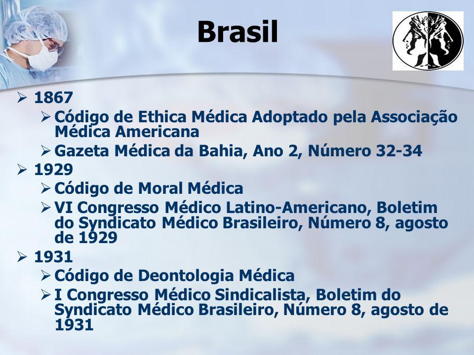 Brasil 1867. Código de Ethica Médica Adoptado pela Associação Médica Americana. Gazeta Médica da Bahia, Ano 2, Número 32-34.