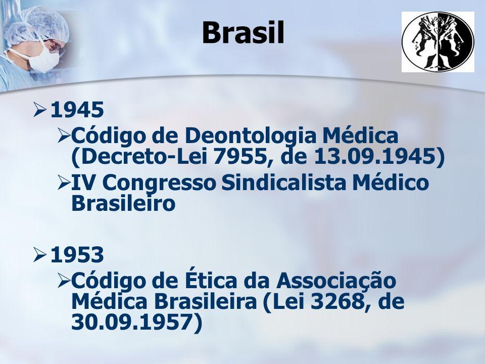 Brasil 1945. Código de Deontologia Médica (Decreto-Lei 7955, de 13.09.1945) IV Congresso Sindicalista Médico Brasileiro.