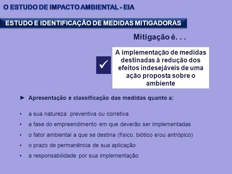 ESTUDO E IDENTIFICAÇÃO DE MEDIDAS MITIGADORAS