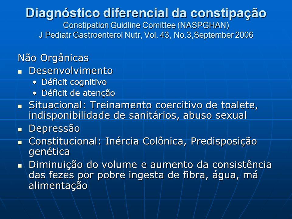 Diagnóstico diferencial da constipação Constipation Guidline Comittee (NASPGHAN) J Pediatr Gastroenterol Nutr, Vol. 43, No.3,September 2006