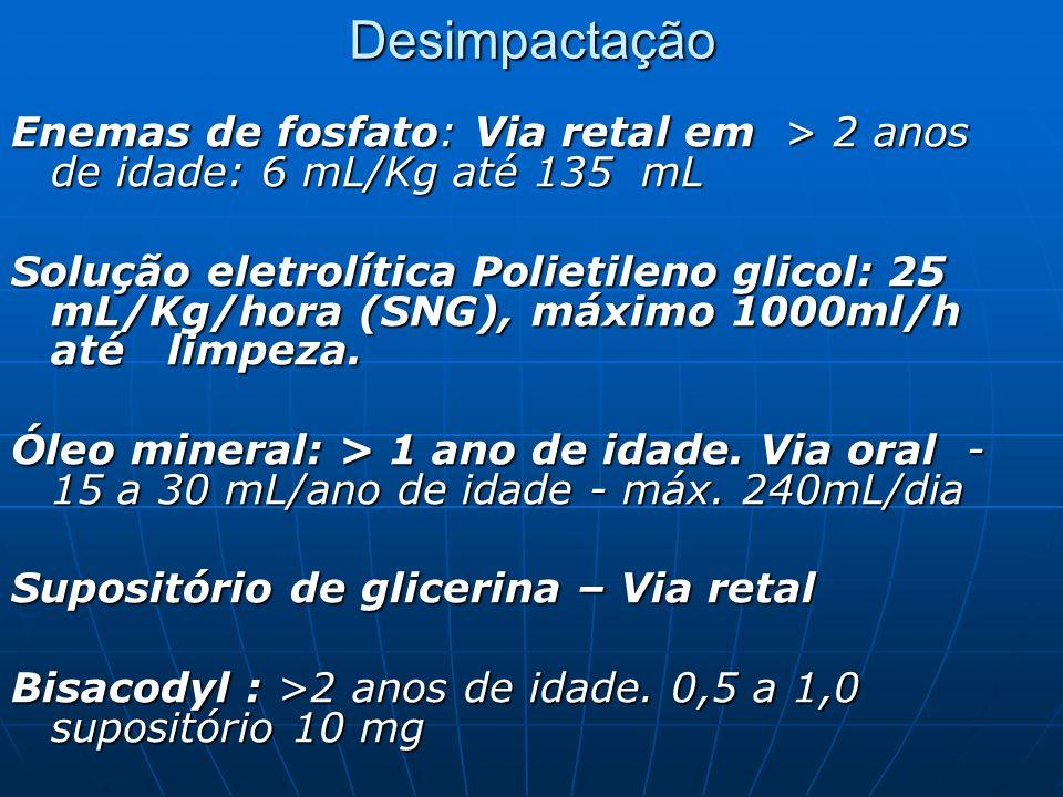 Desimpactação Enemas de fosfato: Via retal em > 2 anos de idade: 6 mL/Kg até 135 mL.