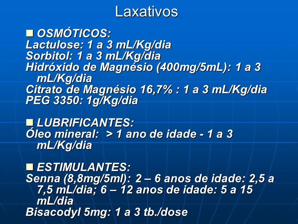 Laxativos OSMÓTICOS: Lactulose: 1 a 3 mL/Kg/dia