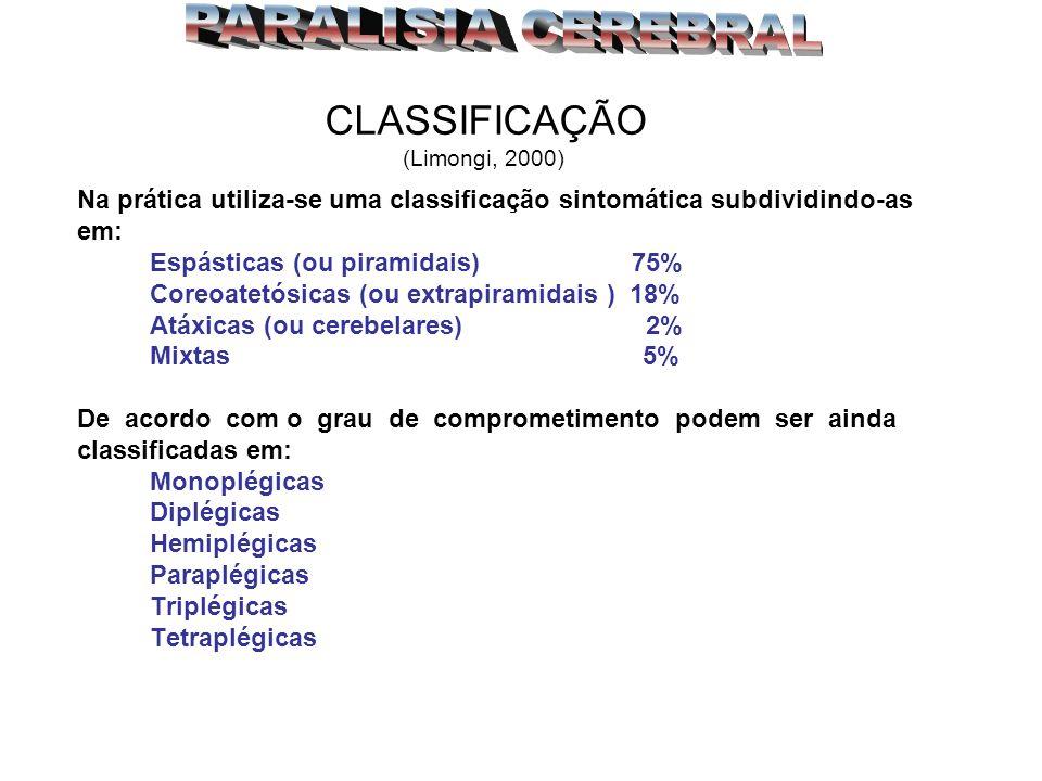 PARALISIA CEREBRAL CLASSIFICAÇÃO (Limongi, 2000)