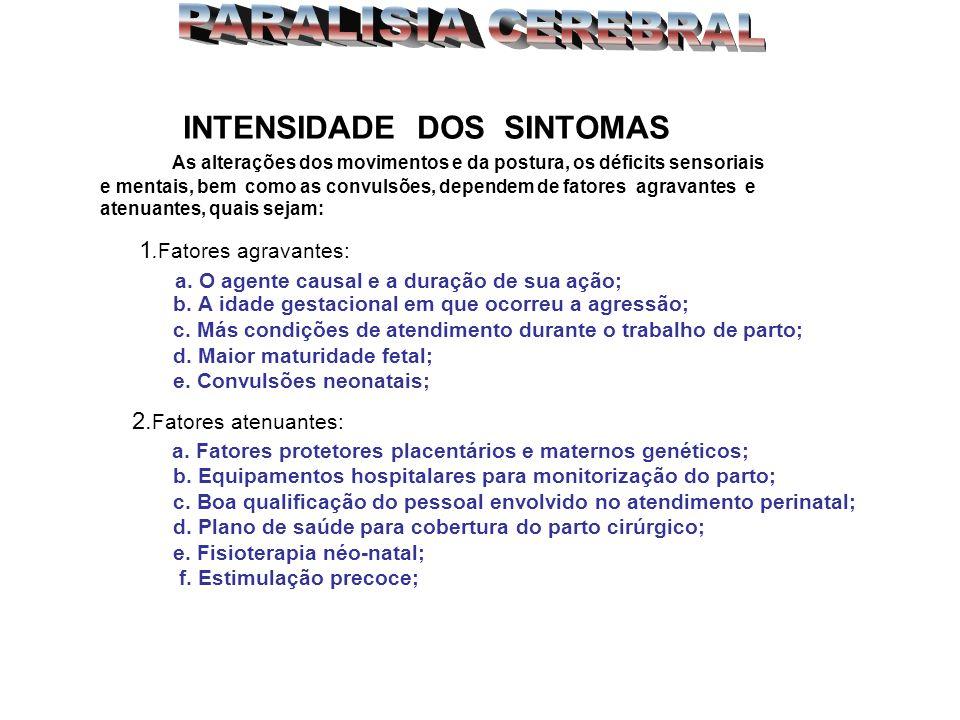 PARALISIA CEREBRAL INTENSIDADE DOS SINTOMAS