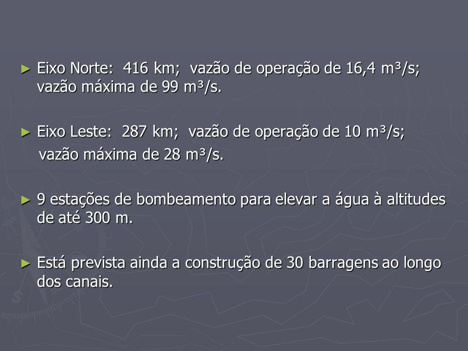Eixo Norte: 416 km; vazão de operação de 16,4 m³/s; vazão máxima de 99 m³/s.