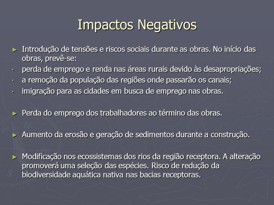 Impactos Negativos Introdução de tensões e riscos sociais durante as obras. No início das obras, prevê-se: