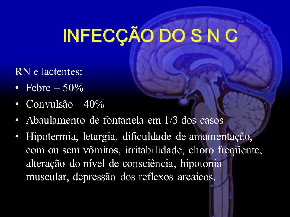 INFECÇÃO DO S N C RN e lactentes: Febre – 50% Convulsão - 40%