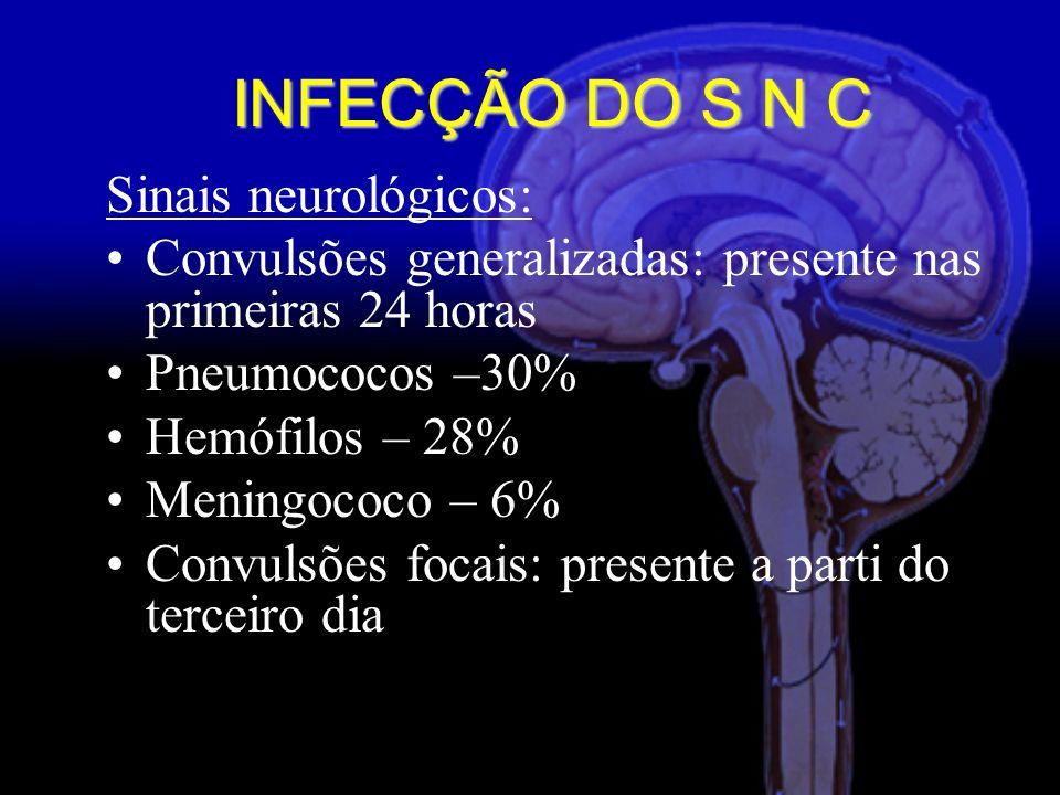 INFECÇÃO DO S N C Sinais neurológicos: