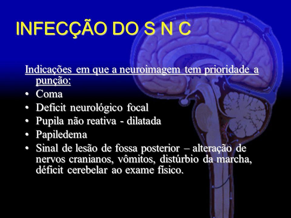INFECÇÃO DO S N C Indicações em que a neuroimagem tem prioridade a punção: Coma. Deficit neurológico focal.