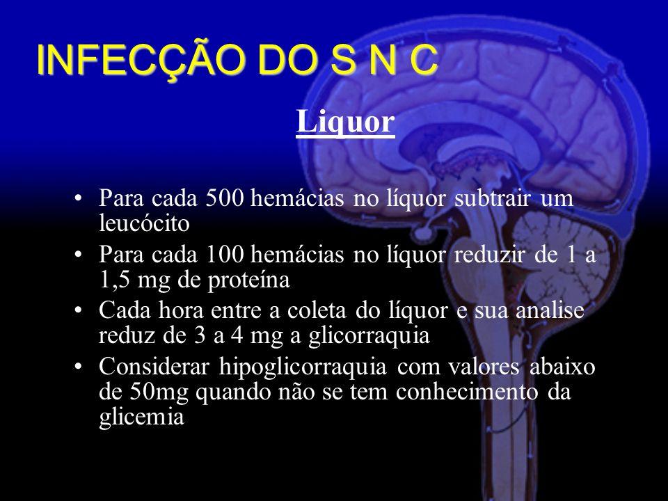 INFECÇÃO DO S N C Liquor. Para cada 500 hemácias no líquor subtrair um leucócito.