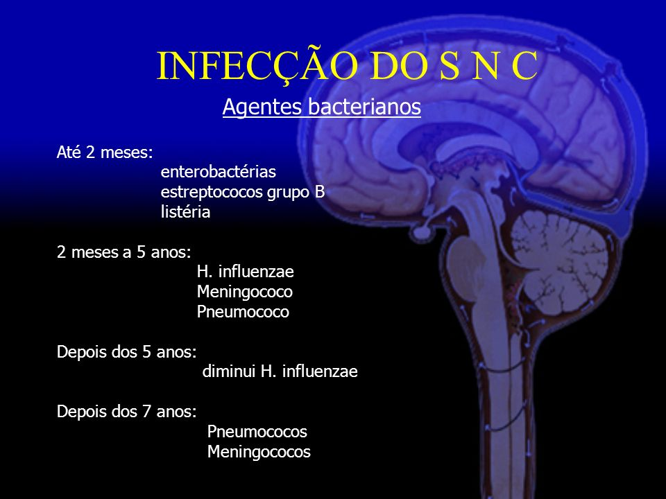 INFECÇÃO DO S N C Agentes bacterianos Até 2 meses: enterobactérias