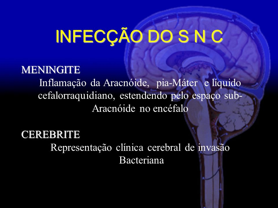 INFECÇÃO DO S N C MENINGITE