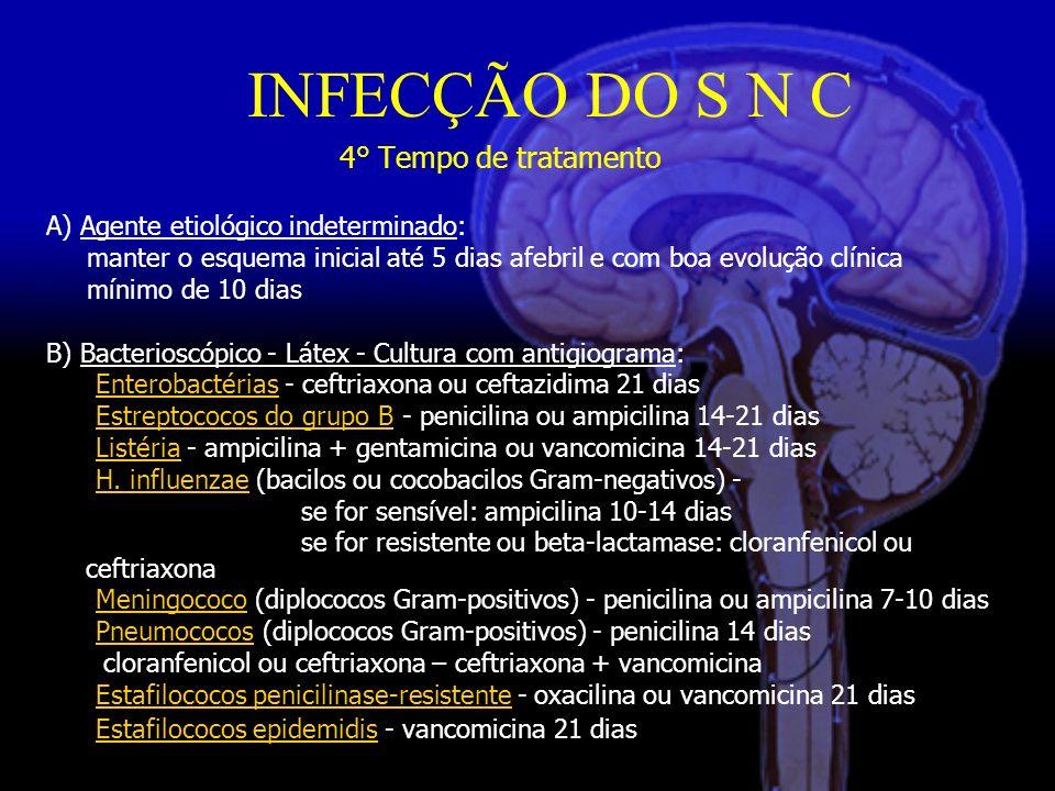 INFECÇÃO DO S N C 4° Tempo de tratamento