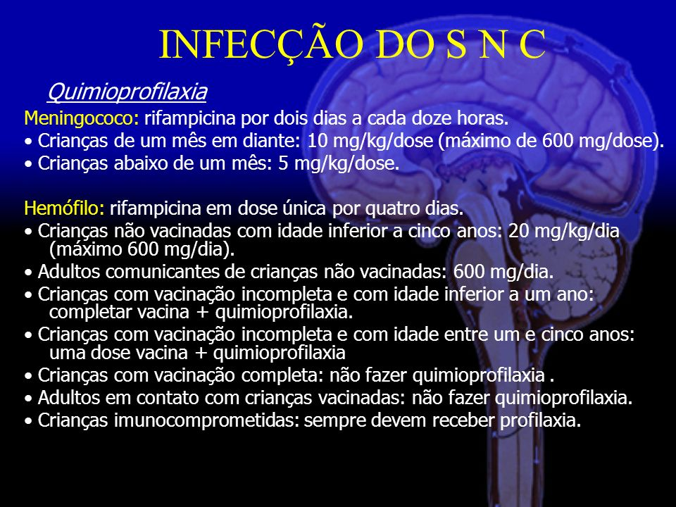 INFECÇÃO DO S N C Quimioprofilaxia