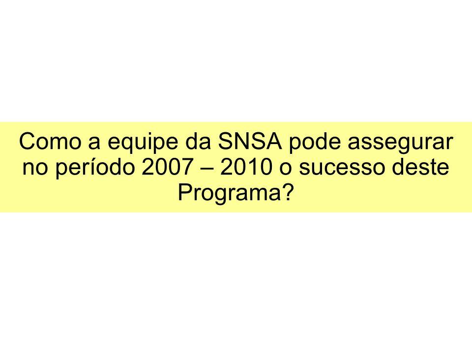 Como a equipe da SNSA pode assegurar no período 2007 – 2010 o sucesso deste Programa