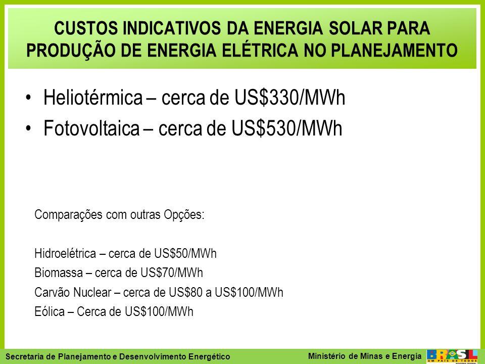 Heliotérmica – cerca de US$330/MWh Fotovoltaica – cerca de US$530/MWh