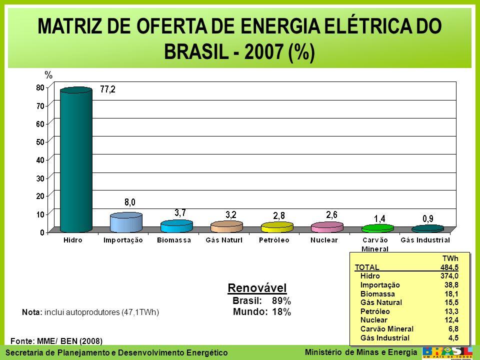 MATRIZ DE OFERTA DE ENERGIA ELÉTRICA DO BRASIL - 2007 (%)