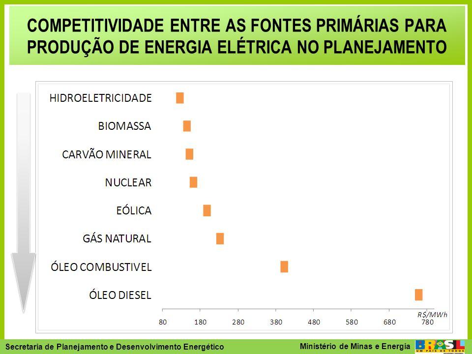 COMPETITIVIDADE ENTRE AS FONTES PRIMÁRIAS PARA PRODUÇÃO DE ENERGIA ELÉTRICA NO PLANEJAMENTO