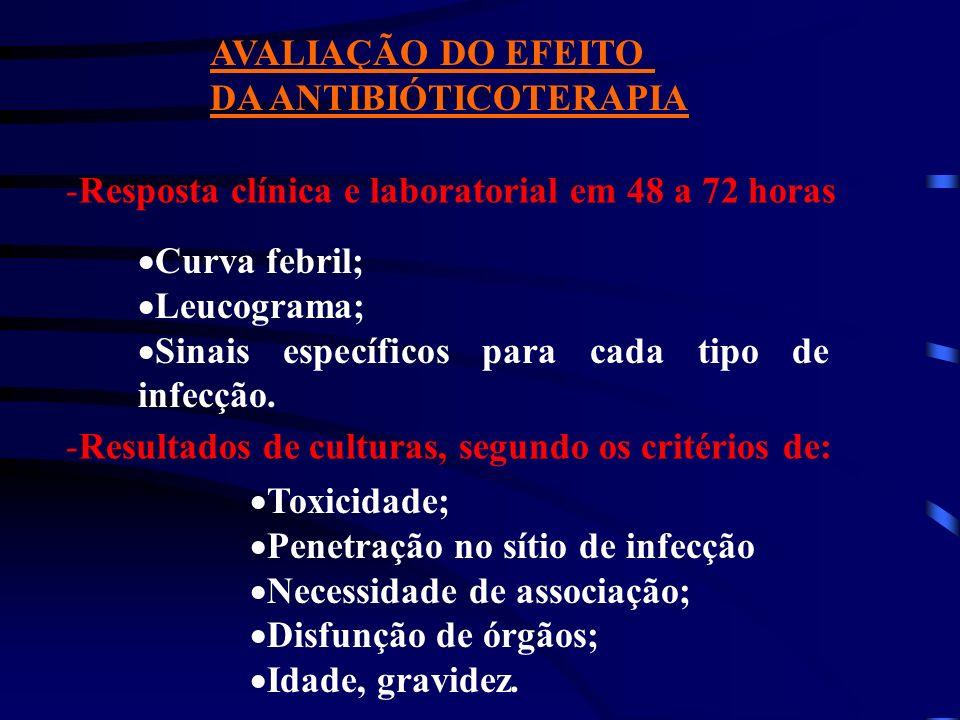AVALIAÇÃO DO EFEITO DA ANTIBIÓTICOTERAPIA. Resposta clínica e laboratorial em 48 a 72 horas. Curva febril;