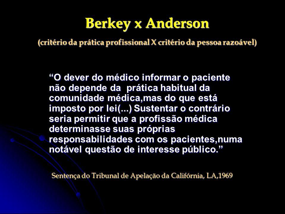 Berkey x Anderson (critério da prática profissional X critério da pessoa razoável)