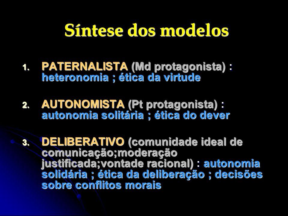 Síntese dos modelos PATERNALISTA (Md protagonista) : heteronomia ; ética da virtude.