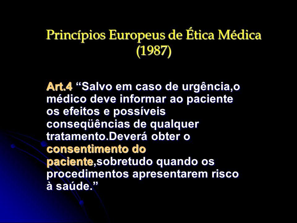 Princípios Europeus de Ética Médica (1987)
