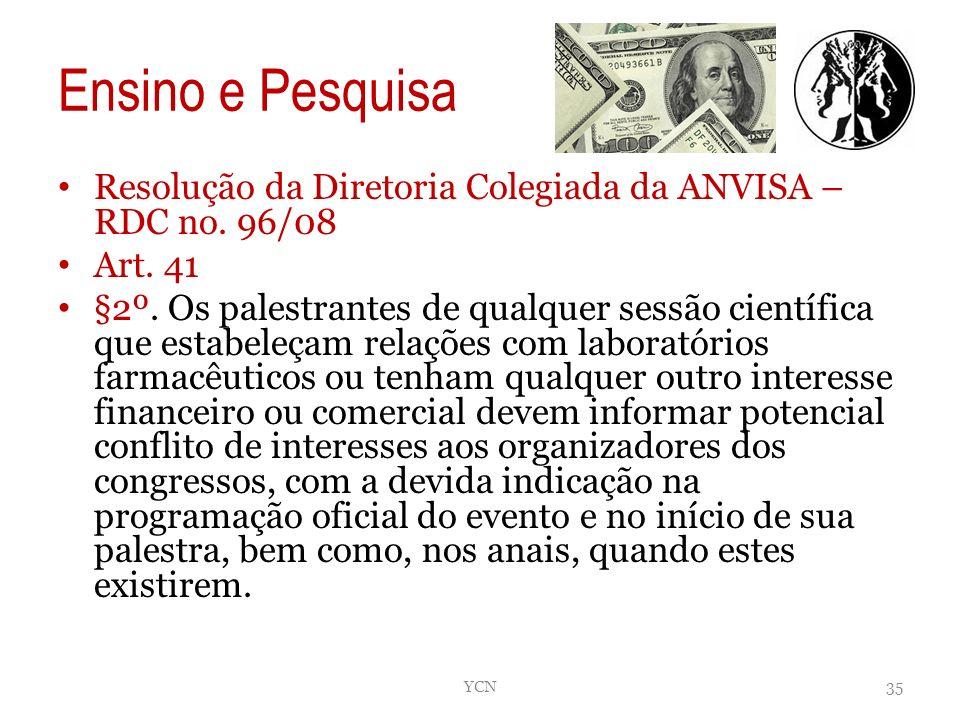 Ensino e Pesquisa Resolução da Diretoria Colegiada da ANVISA – RDC no. 96/08. Art. 41.