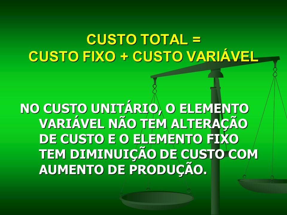 CUSTO TOTAL = CUSTO FIXO + CUSTO VARIÁVEL
