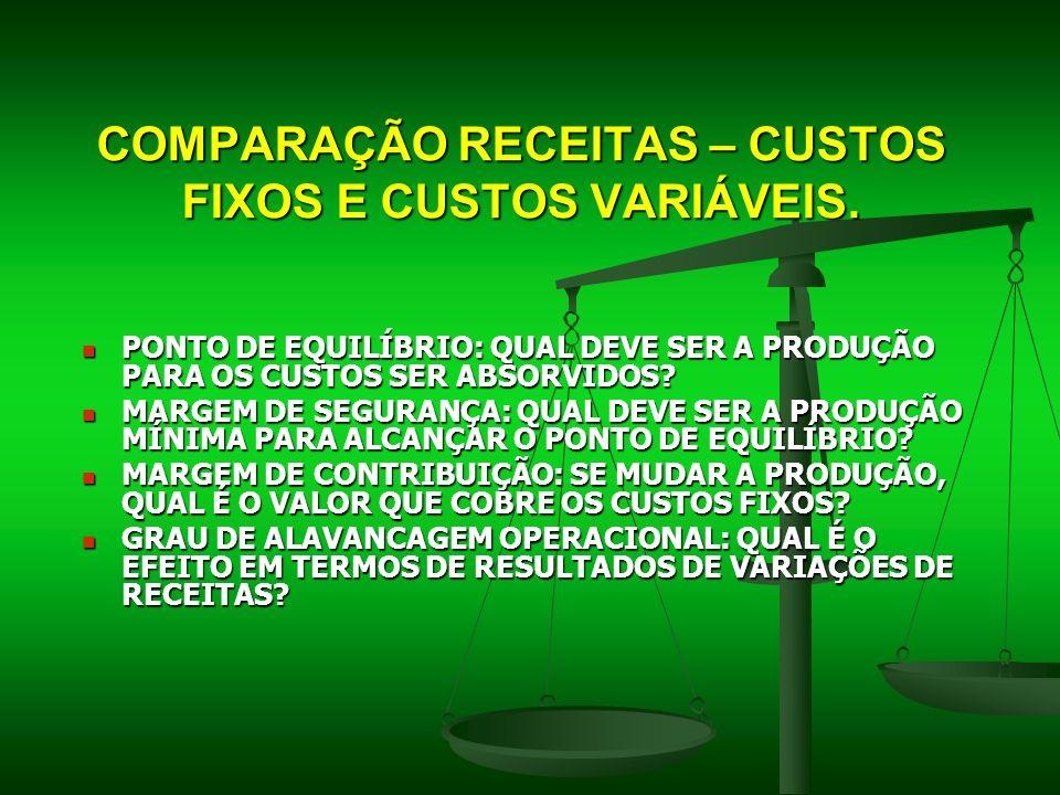 COMPARAÇÃO RECEITAS – CUSTOS FIXOS E CUSTOS VARIÁVEIS.