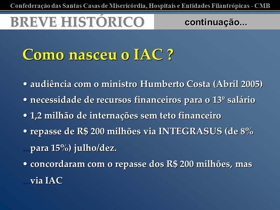 Como nasceu o IAC BREVE HISTÓRICO continuação...