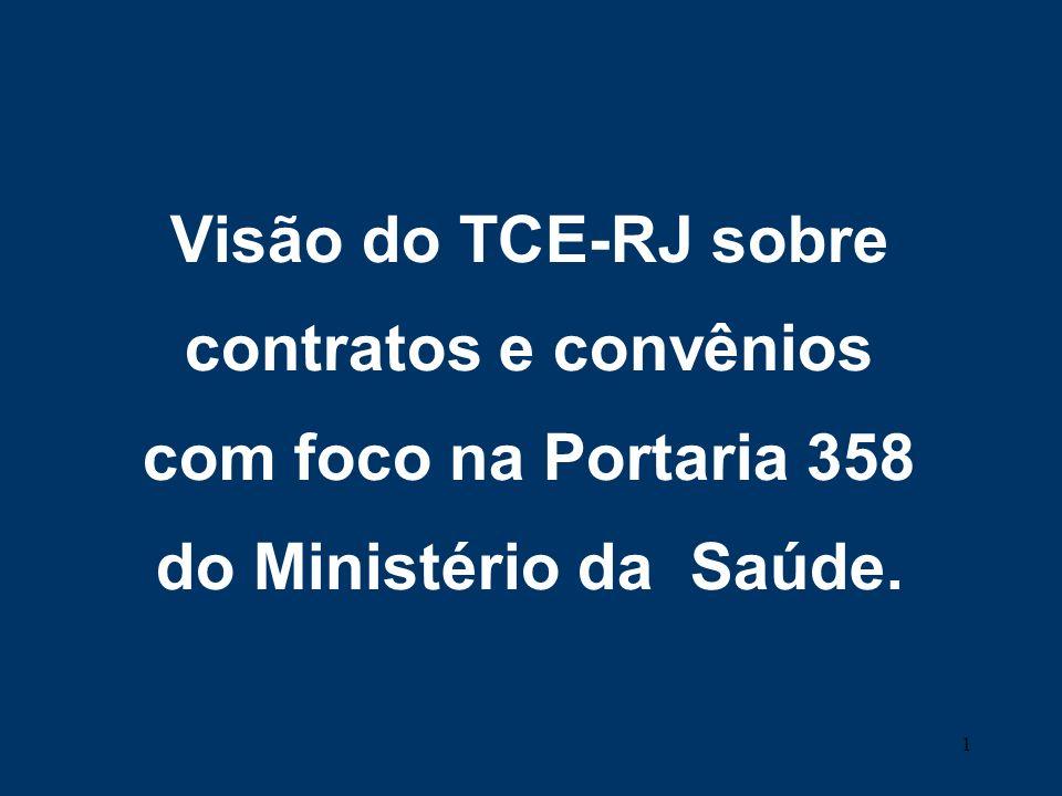 Visão do TCE-RJ sobre contratos e convênios com foco na Portaria 358 do Ministério da Saúde.