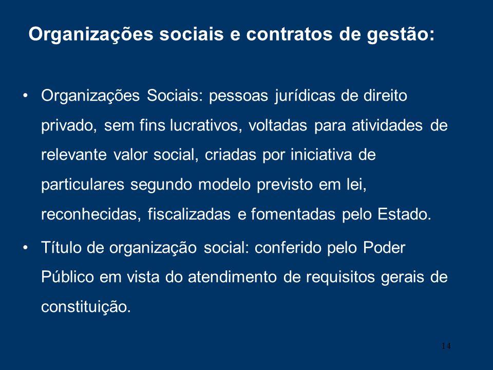 Organizações sociais e contratos de gestão:
