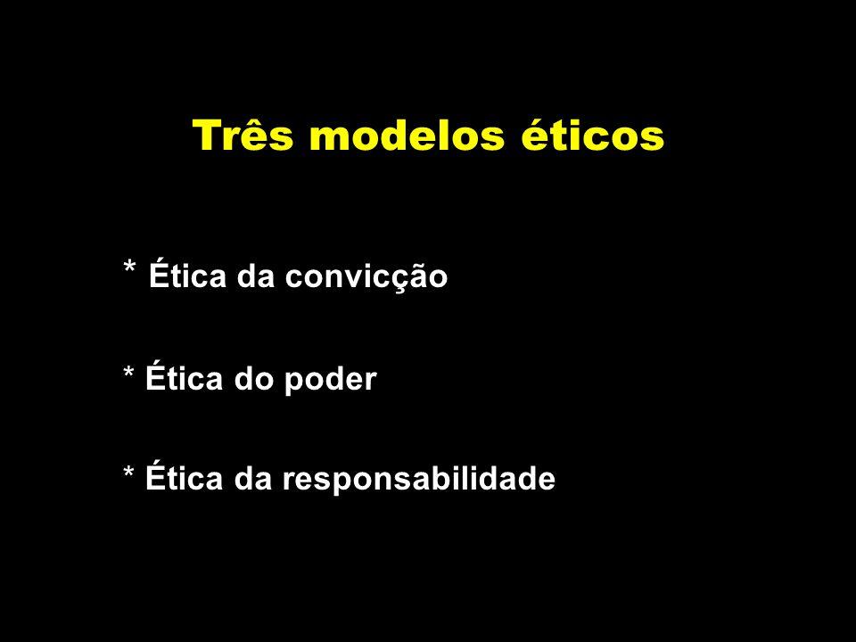 Três modelos éticos Ética da convicção Ética do poder