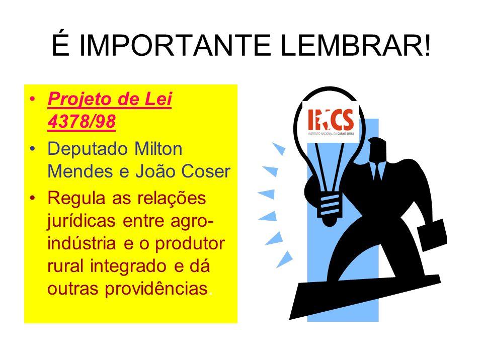 É IMPORTANTE LEMBRAR! Projeto de Lei 4378/98