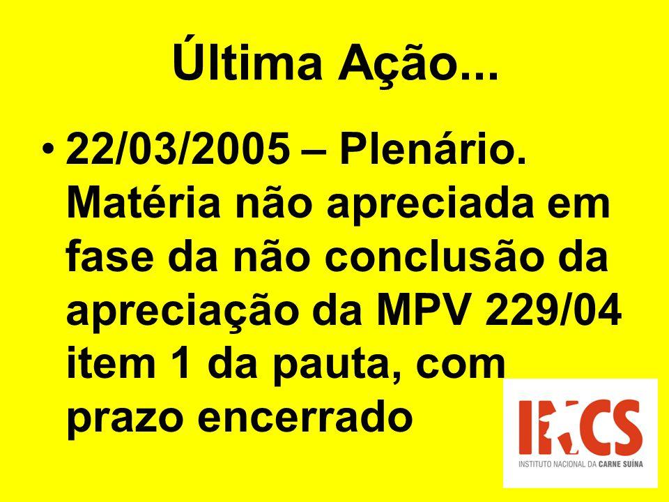 Última Ação... 22/03/2005 – Plenário.