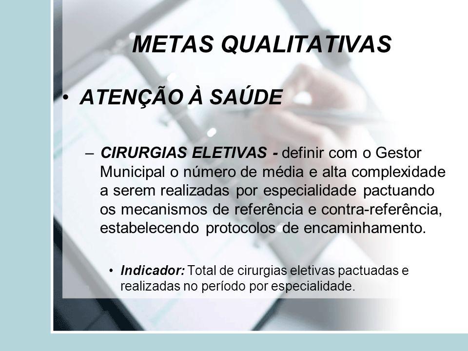 METAS QUALITATIVAS ATENÇÃO À SAÚDE