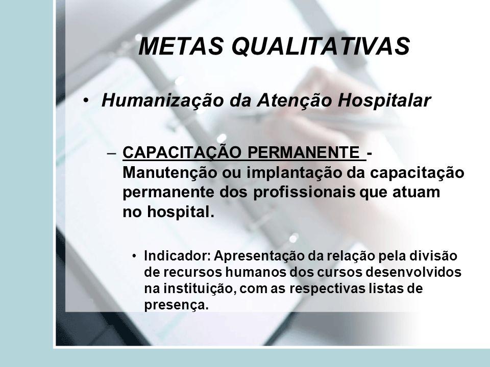 METAS QUALITATIVAS Humanização da Atenção Hospitalar