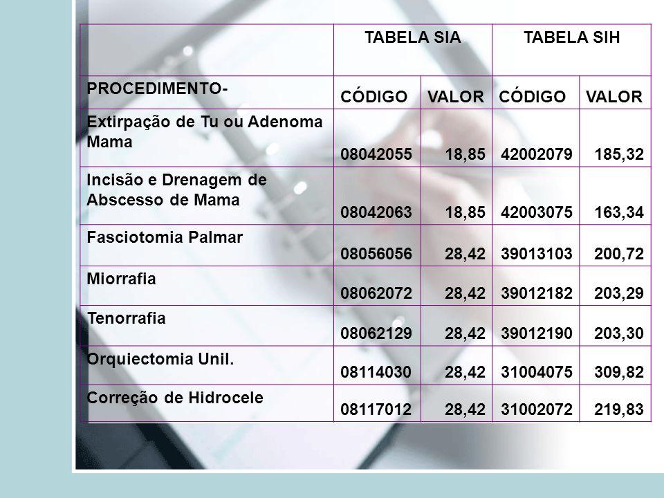 Extirpação de Tu ou Adenoma Mama 08042055 18,85 42002079 185,32