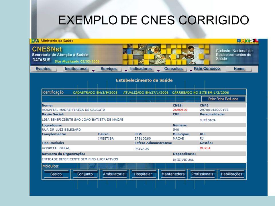 EXEMPLO DE CNES CORRIGIDO