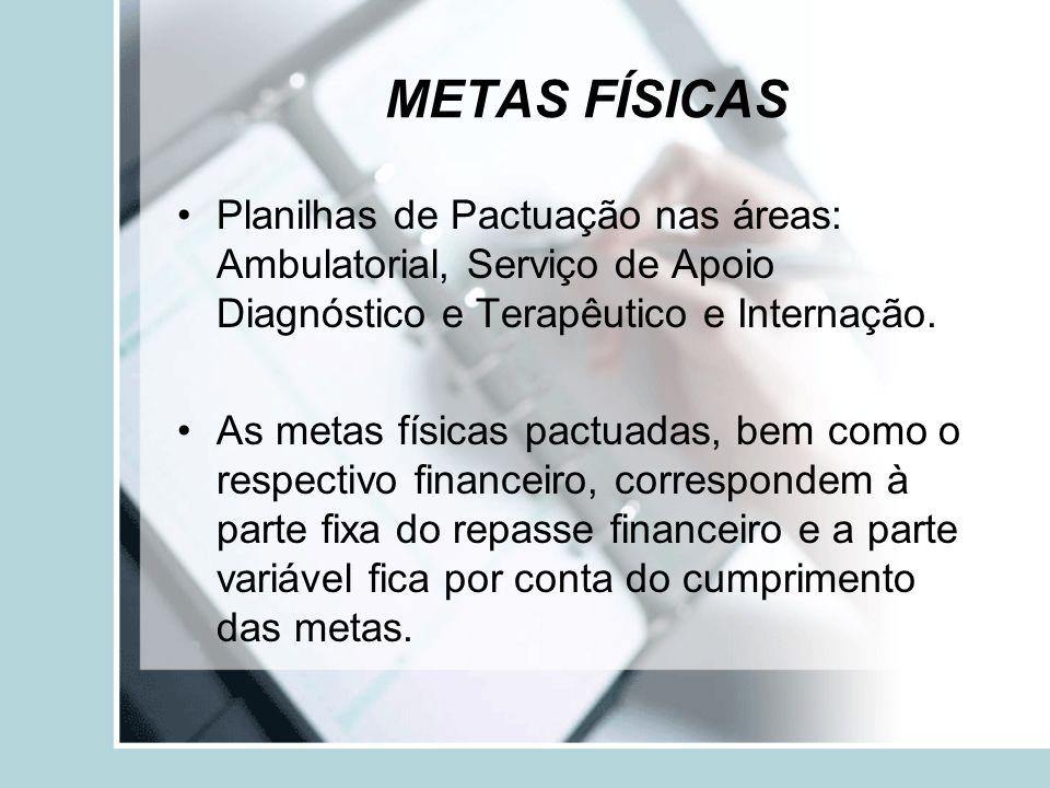 METAS FÍSICAS Planilhas de Pactuação nas áreas: Ambulatorial, Serviço de Apoio Diagnóstico e Terapêutico e Internação.