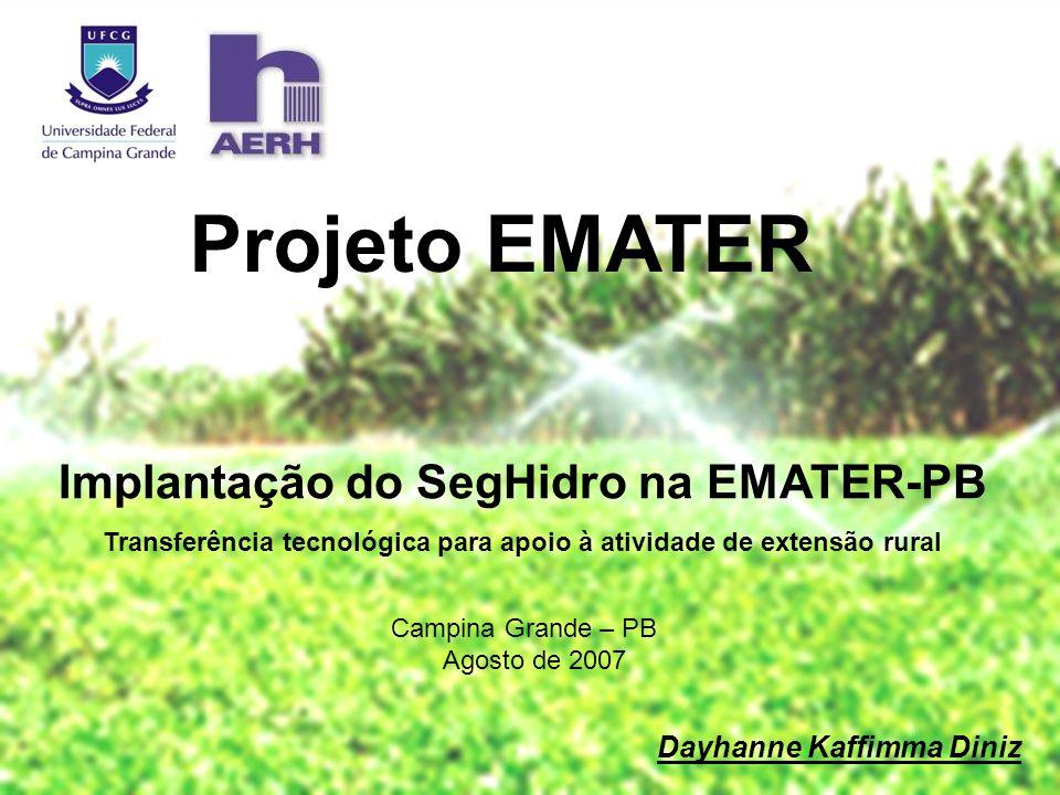 Projeto EMATER Implantação do SegHidro na EMATER-PB