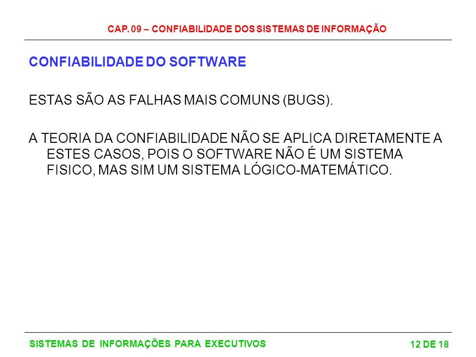 CONFIABILIDADE DO SOFTWARE ESTAS SÃO AS FALHAS MAIS COMUNS (BUGS).
