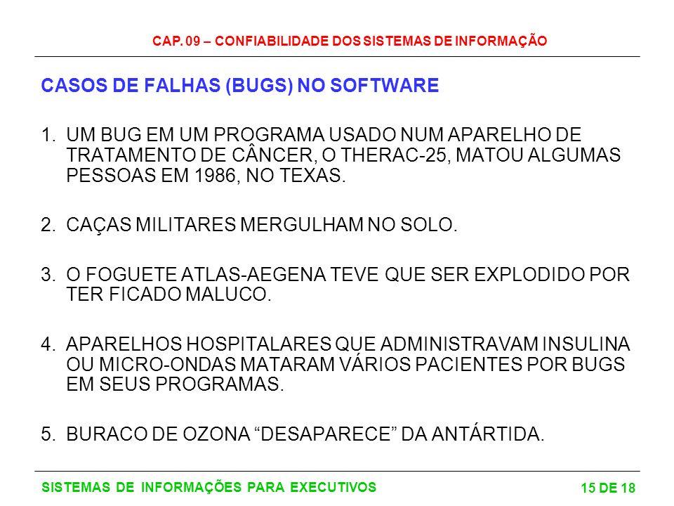 CASOS DE FALHAS (BUGS) NO SOFTWARE