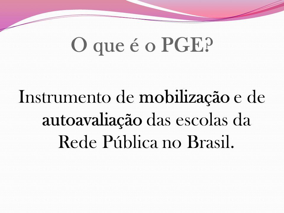 O que é o PGE Instrumento de mobilização e de autoavaliação das escolas da Rede Pública no Brasil.