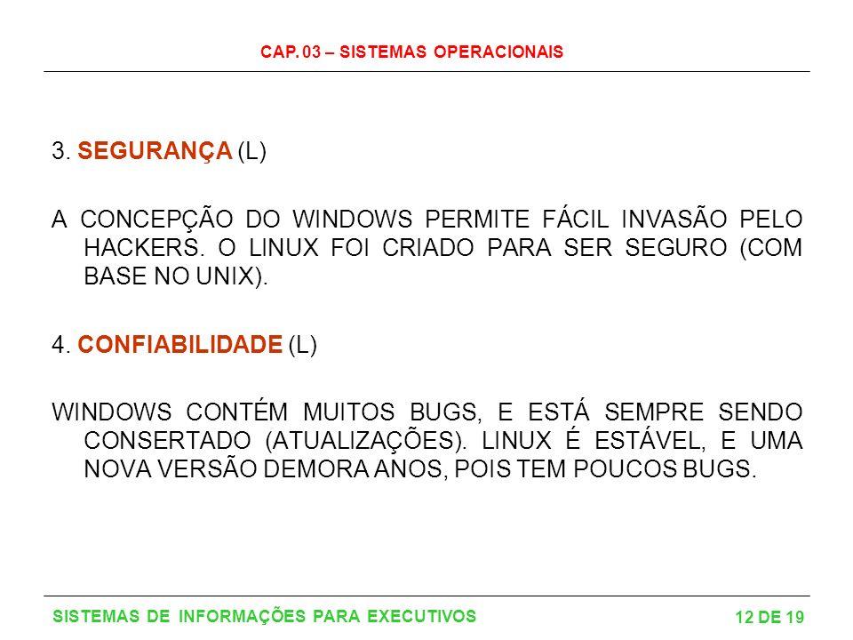3. SEGURANÇA (L) A CONCEPÇÃO DO WINDOWS PERMITE FÁCIL INVASÃO PELO HACKERS. O LINUX FOI CRIADO PARA SER SEGURO (COM BASE NO UNIX).