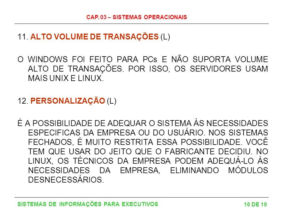 11. ALTO VOLUME DE TRANSAÇÕES (L)