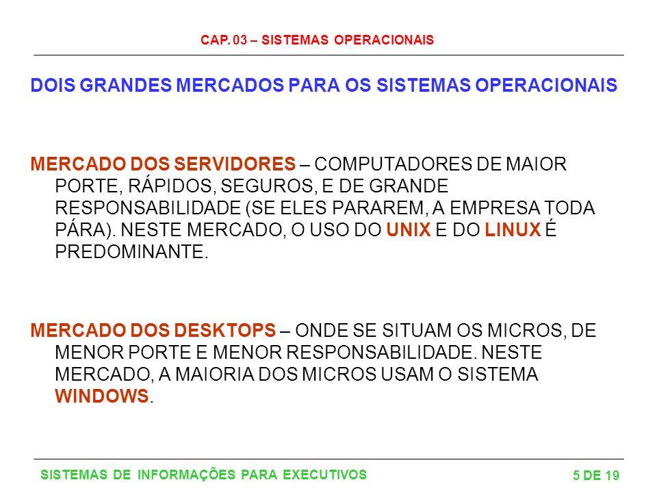 DOIS GRANDES MERCADOS PARA OS SISTEMAS OPERACIONAIS