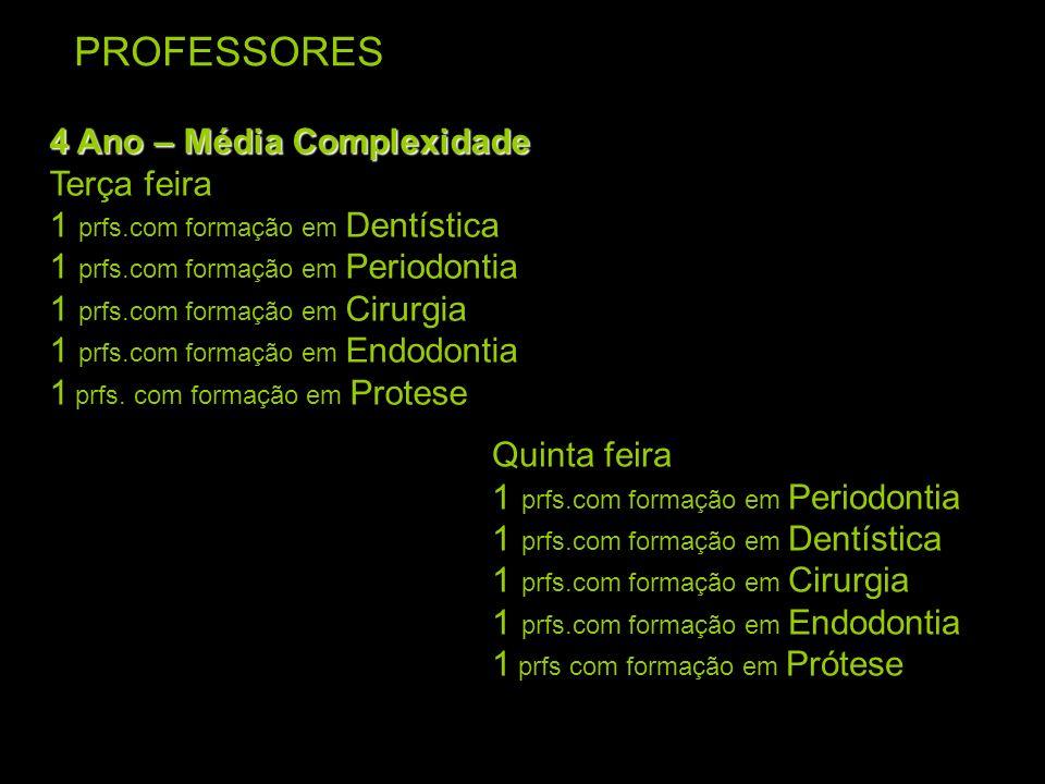 PROFESSORES 4 Ano – Média Complexidade Terça feira