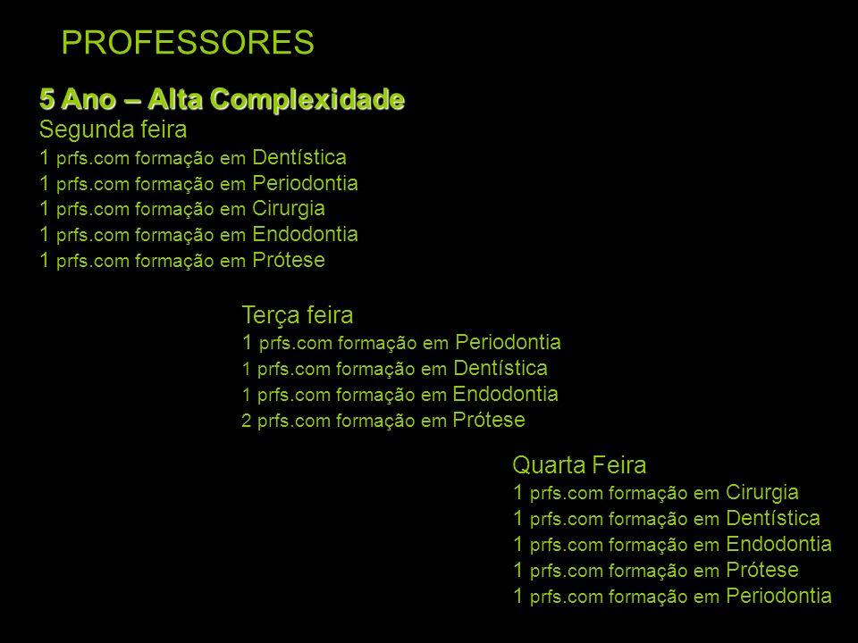 PROFESSORES 5 Ano – Alta Complexidade Segunda feira Terça feira
